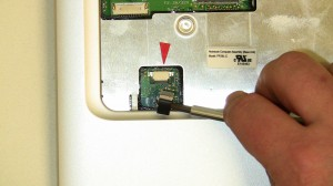 Unplug the touchpad cable from the motherboard.