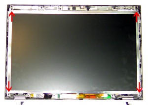 Lift the LCD screen away from the bask assembly and lay it face down.