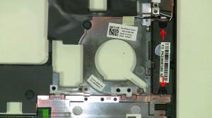 Unscrew the (2) 2mm x 3mm right speaker screws.