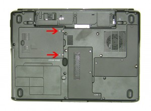 Lift the hard drive door away form the laptop.