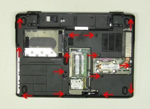 Remove the (13) 2.5mm x 8mm bottom base screws.