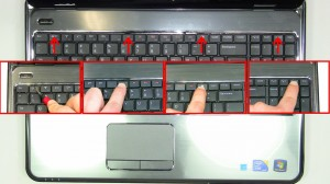 Using a scribe or a flat head screw driver, press in the 4 latches that allow the keyboard to lift up.