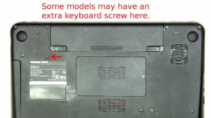 Dell has given notice that some of the models will not use keyboard screws, some will have only 1, and some will have 2. The other optional screw location is above the name plate on the bottom of the laptop.