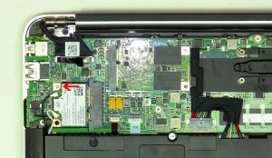 Remove the WLAN card from the Ultrabook motherboard.