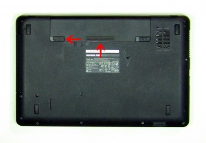Slide the battery latch over and the battery out of the laptop.