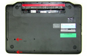 Under the battery, remove the hinge cover screw.