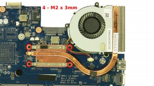 Remove the 4 - M2 x 3mm heatsink screws.