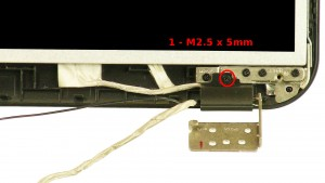Remove the 2 - M2.5 x 5mm right & left hinge cover screws.