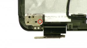 Remove the left hinge screw.