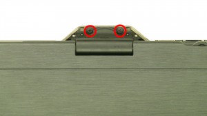 Remove the rear hinge screws.