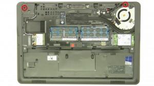 Remove the bottom palmrest screws.