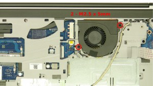 Remove the 2 - M2.5 x 5mm fan screws.