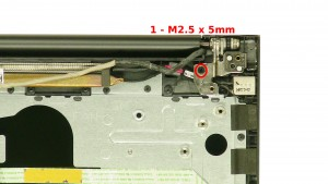 Remove the 1 - M2.5 x 5mm right hinge screws.