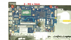 Remove the 2 - M2 x 3mm motherboard screws.