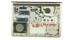 Remove the 2 - M2 x 2mm Wafer screws under the battery.