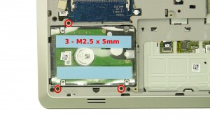 Remove the 3 - M2.5 x 5mm hard drive screws.