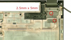Remove the right hinge screws.(2 x M2.5 x 5mm)