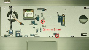 Remove the screw under the power button cable.(1 x M2.5 x 5mm)