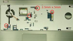 Remove the palmrest screws.(4 x M2.5 x 5mm)(2 x