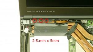 Remove the 3 - M2.5 x 5mm left hinge screws.