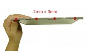 Remove the 4 - M2 x 3mm right rail screws.