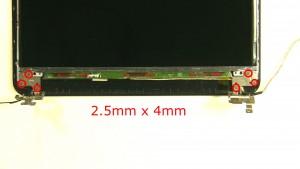 Remove the 2 - M2.5 x 4mm bottom hinge rail screws.