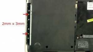 Remove the screws under the DVD optical drive (2 x M2 x 3mm).