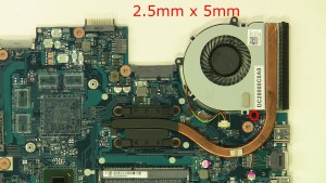 Remove the 1 - M2.5 x 5mm fan screw.
