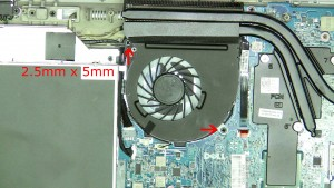 Remove the fan screws (2 x M2.5 x 5mm).