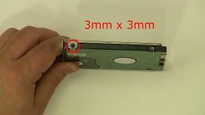 Remove the 2 - M3 x 3mm screws.