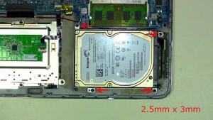 Remove the 4 hard drive screws (4 x M2.5 x 3mm).