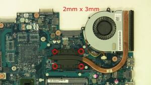 Loosen the 4 - M2 x 3mm heatsink screws.