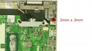 Remove the DC jack screw (1 x M2 x 3mm).