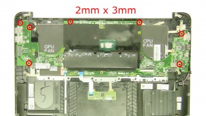 Remove the motherboard screws (7 x M2 x 3mm).