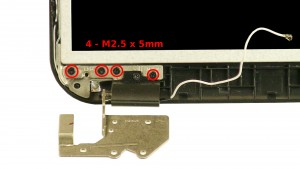 Remove the 8 - M2.5 x 5mm bottom hinge screws.