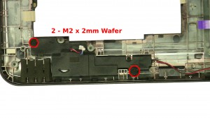 Remove the 4 - M2 x 2mm Wafer left & right speaker screws.