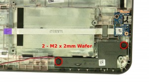 Remove the 4 - M2 x 2mm Wafer left & right speaker screws.