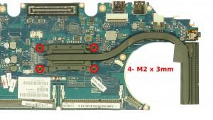 Remove the 4 - M2 x 3mm screws.