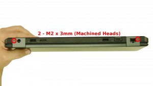Remove the 2 - M2 x 3mm back hinge cover screws.
