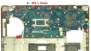 Remove the 6 - M2 x 5mm motherboard screws.