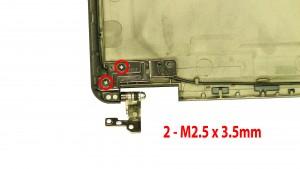 Remove the 2 - M2.5 x 3.5mm left hinge screws.