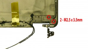 Remove the 2 - M2.5 x 3.5mm right hinge screws.