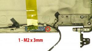 Remove the 1- M2 x 3mm LED indicator lights screw.