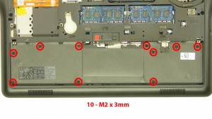 Remove the 10 - M2 x 3mm screws under the battery.