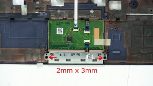 Remove the bottom mouse button screws (2 x M2 x 3mm).