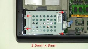 Remove the hard drive screws (4 x M2.5 x 8mm).