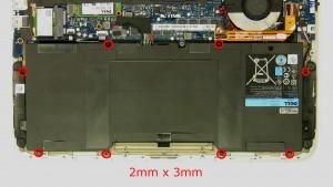 Remove the screws (8 x M2 x 3mm).