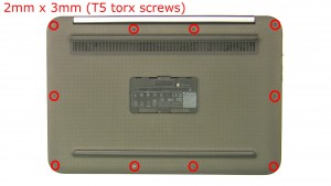 Remove the screws (10 x 2x3mm T5 torx).
