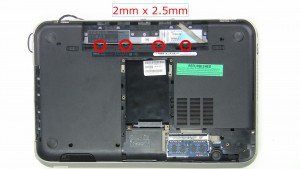 Remove screws under battery (4 x M2x2.5mm).
