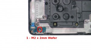 Remove the 1 - M2 x 2mm Wafer screw.